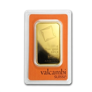100 Gram Gold Bullion Bar Valcambi One Hundred Gram