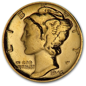 Mercury Dime Gold Plated Mercury Dimes 1916 1945